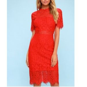 Lulus Remarkable Red Lace Dress New